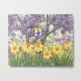 goldfinches, lilacs, & daffodils Metal Print