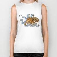 octopus Biker Tanks featuring Octopus by Tim Jeffs Art