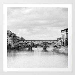 Old Bridge in Florence B&W Art Print