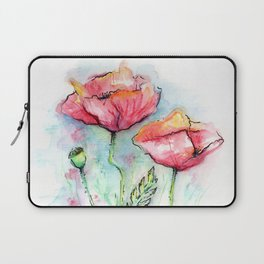 Poppies Watercolor Sketch Red Flowers Laptop Sleeve