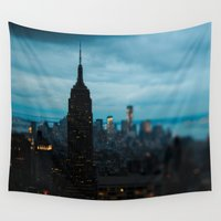 new york skyline Wall Tapestries featuring Skyline New York by Chelsea Victoria