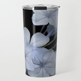 Pale Blue Plumbago Isolated on Black Background Travel Mug