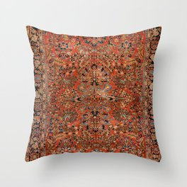 Persia Sarouk 19th Century Authentic Colorful Red Yellow Leaf Vintage Patterns Throw Pillow