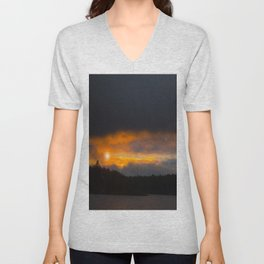 October Cloudy Sunset #decor #buyart #society6 Unisex V-Neck