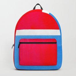 Colorful Bright Minimalist Rothko Midcentury Modern Art Vintage Pop Art Neon Red Cerulean Blue Backpack