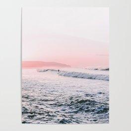 Ocean, Surfer, Pink Sunset, Beach Wall Art Poster