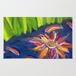 Flowers Float by Ladybug Grass Rug