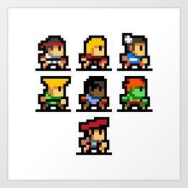 Minimalistic - Street Fighter - Pixel Art Art Print