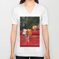 aperture V-neck T-shirts featuring The red table by Nina's clicks
