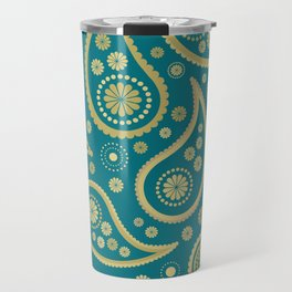 Paisley Funky Design Gold & Teal Travel Mug