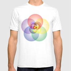 Colored Circles MEDIUM Mens Fitted Tee White