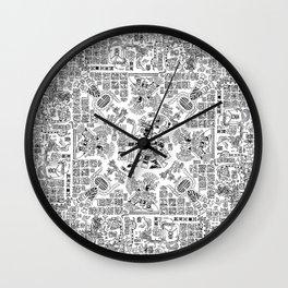 Mayan Spring B&W Wall Clock