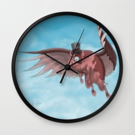 Nelson the flying pig Wall Clock