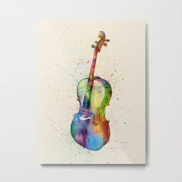 Cello Abstract Watercolor Metal Print