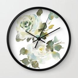Green Watercolor Roses Wall Clock