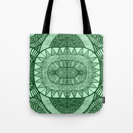 Grassy Green Tangled Mania Pattern Doodle Design Tote Bag