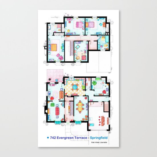The house of Simpson family - Both floorplans Canvas Print