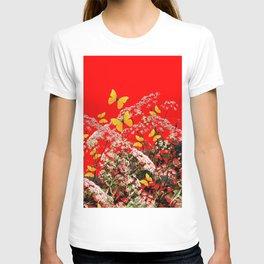 RED GARDEN ART OF YELLOW BUTTERFLIES & LACEY FLOWERS T-shirt