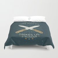 philosophy Duvet Covers featuring That which does not kill us makes us stronger by Beardy Graphics