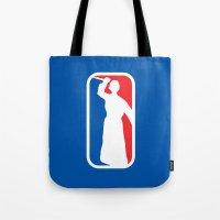league Tote Bags featuring Psycho League by dutyfreak