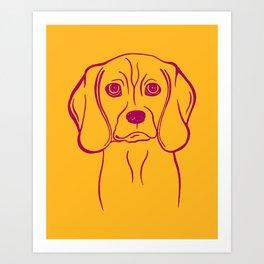 Beagle (Marigold and Burgundy) Art Print