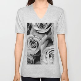 Black and White Roses Unisex V-Neck