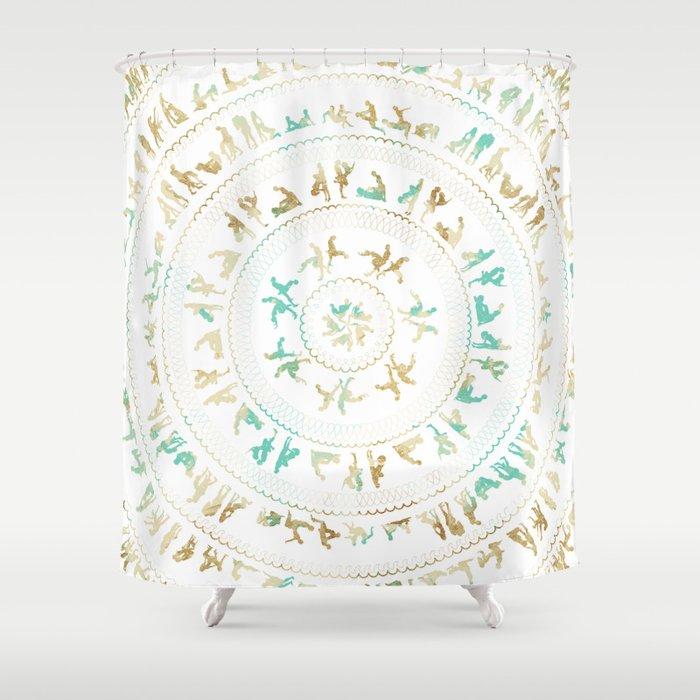 Kama Sutra Mandala Blue And Gold Shower Curtain By Kestreldesign