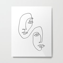 One Line Art Faces Sketch Metal Print
