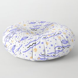 Little Blue Fish in the Sea , Waves and Water with Tiny School of Fishes Pattern Floor Pillow