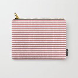Mattress Ticking Narrow Striped Pattern in Red and White Carry-All Pouch