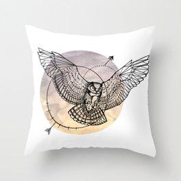 Arrow owl Throw Pillow