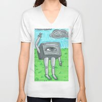 technology V-neck T-shirts featuring Technology life by Diane McGregor Art