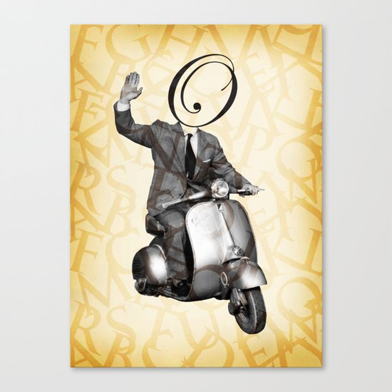 Mr O on his vespa Canvas Print