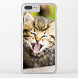 Yawning Kitten Clear iPhone Case