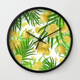 Summer Lemon Twist Jungle #2 #tropical #decor #art #society6 Wall Clock