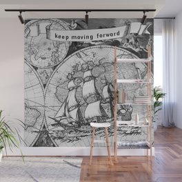Ship and Map .  Home Decor for Him and Her Wall Mural
