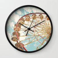ferris wheel Wall Clocks featuring ferris wheel by Sylvia Cook Photography