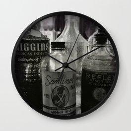Vintage Ink Bottles Wall Clock