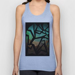 Abstract background of triangles polygon print. Bright dark design colors Unisex Tank Top