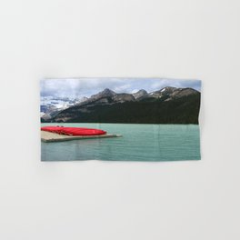 Lake Louise Red Canoes Hand & Bath Towel