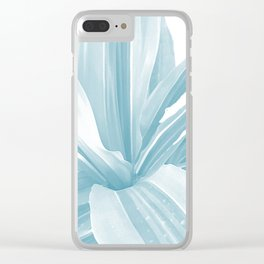 Pale Blue Leaves Movement. nature, soft, decor, art, blue, white, leaves, leaf, society6 Clear iPhone Case