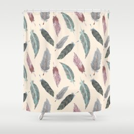 Watercolor Boho Feathers Shower Curtain