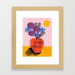 Just Kidding - memphis retro 80s throwback modern still life abstract floral flower vase Framed Art Print