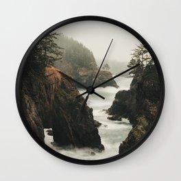 Fog Blankets the Oregon Coast at Natural Bridges Wall Clock