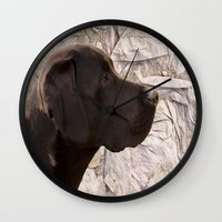labrador Wall Clocks featuring black Labrador by Doug McRae