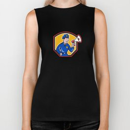 Policeman Shouting Bullhorn Shield Cartoon Biker Tank
