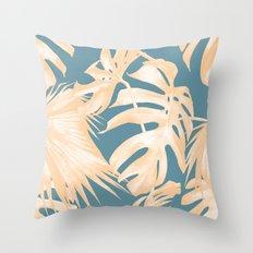 Island Vacation Hibiscus Palm Light Orange Teal Blue Throw Pillow