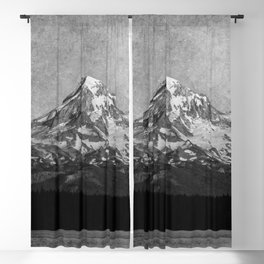 Mt Hood Black and White Vintage Nature Photography Blackout Curtain