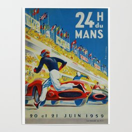 24hs Le Mans, 1959, vintage poster Poster