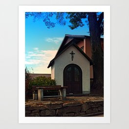 Taking a rest at the chapel Art Print